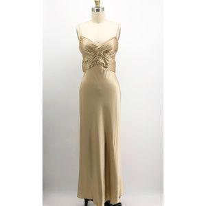 CACHE Gold Silk Bias Cut Evening Gown Wrap Dress